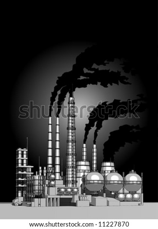 Industry concept: abstract plant with smokey sky - stock vector