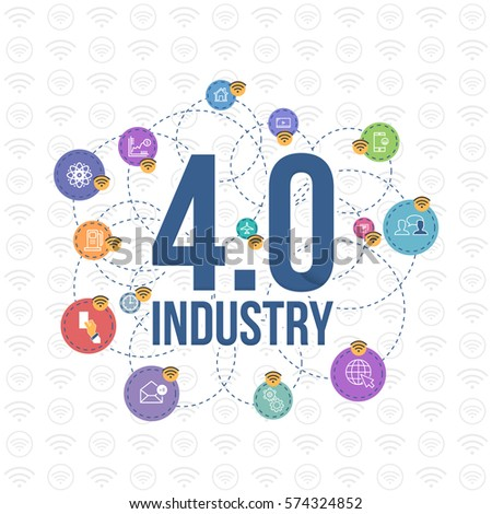 Industry 4.0 Concept Business Control, Modern Thin Line Icon Presentation Design. Internet of Things, Cloud Computing, Network, Future, Automation Illustration. Flat Web Infographics Elements