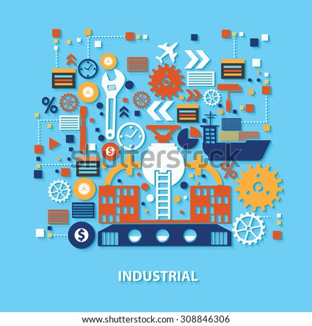 Industry concept design on blue background,clean vector - stock vector