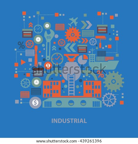 Industry concept design on blue background,vector