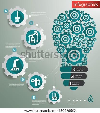 Industry concept,Gears light bulb,Infographic design,vector - stock vector