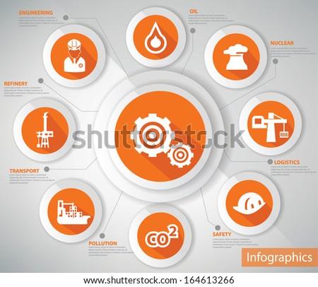 Industry concept,Orange version,vector - stock vector