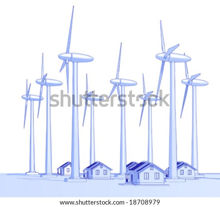 Industry concept: wind-driven generators & houses with solar power systems - stock vector