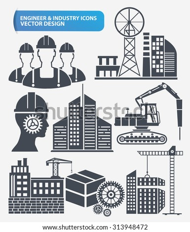 Industry,engineer and construction icon set design,clean vector  - stock vector