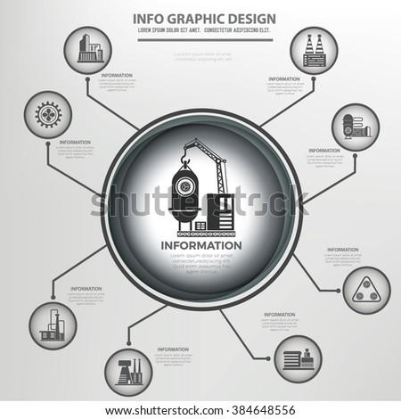 Industry,factory info graphics design,clean vector - stock vector