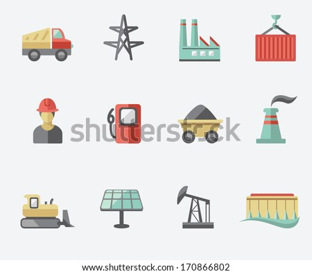 Industry icon set - stock vector