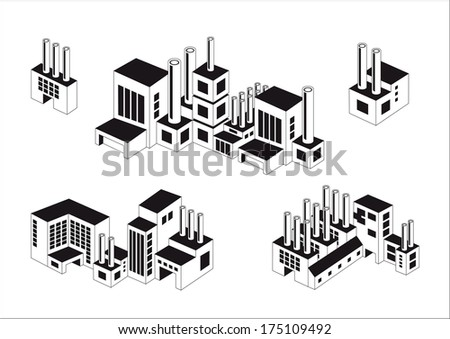 industry icons over white background. vector illustration.Vector industrial buildings and factories