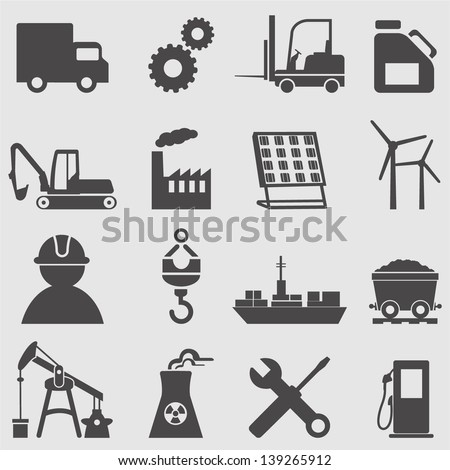 Industry icons set.Vector - stock vector