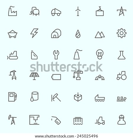 Industry icons, simple and thin line design - stock vector
