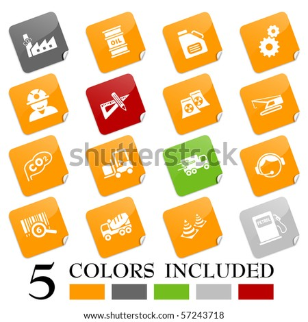 Industry icons - sticky series - stock vector