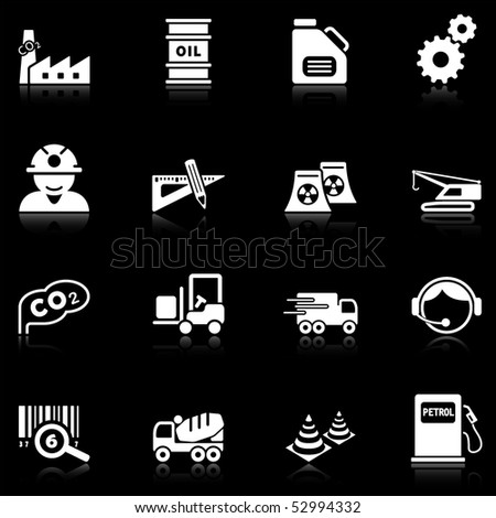 Industry icons with reflection, black series - stock vector