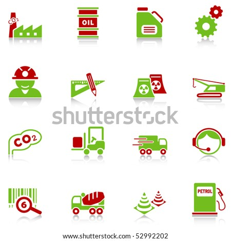 Industry icons with reflection, green-red series - stock vector
