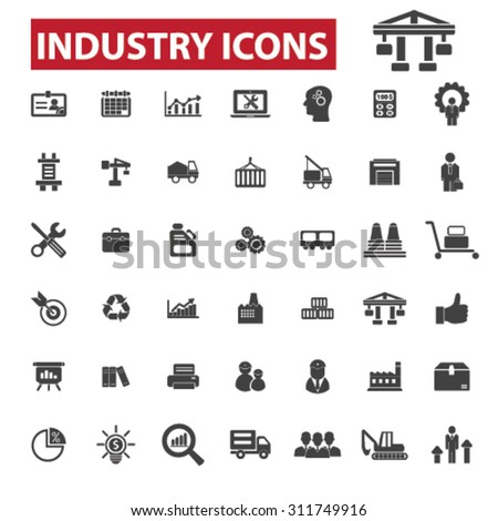 Industry, industrial business, factory black isolated concept icons, illustrations set. Flat design vector for web, infographics, apps, mobile phone servces  - stock vector