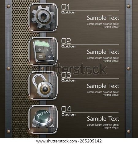 Industry info graphic, technology icons on metallic, vector illustration - stock vector