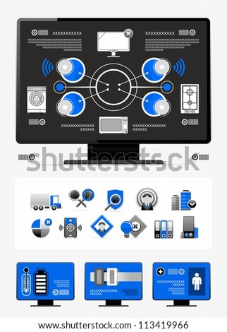 industry infographics and icons - stock vector