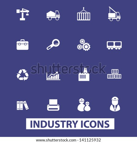 industry, logistics, constructions, manufactury icons, signs set, vector - stock vector