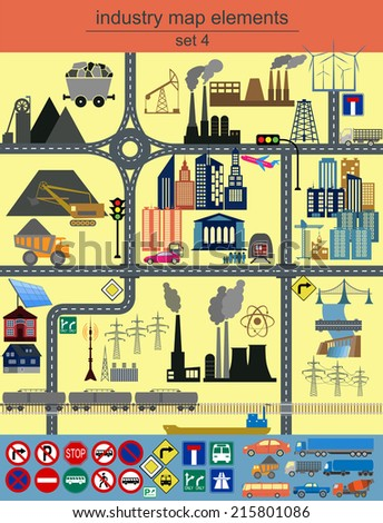 Industry map elements for generating your own infographics, maps. Vector illustration - stock vector