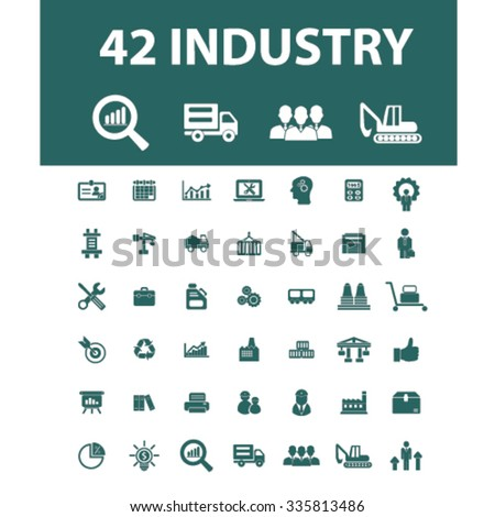 industry, meeting, logistics, manufacturing, plant, engineering, business concept  icons, signs vector concept set for infographics, mobile, website, application  - stock vector