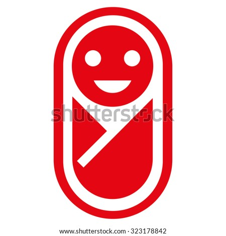 Infant vector icon. Style is flat symbol, red color, rounded angles, white background.