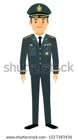 Infantry general in flat style isolated on white background