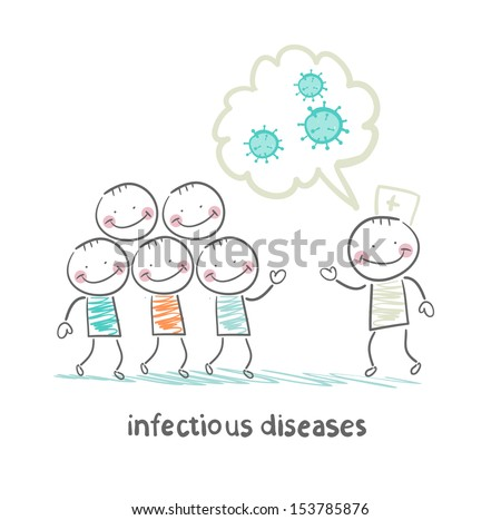 infectious diseases talks about the infection to humans - stock vector