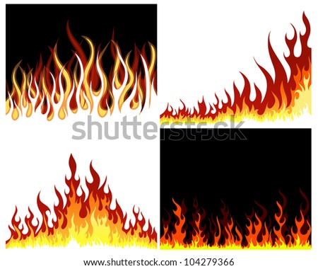 Inferno fire vector background set for design use - stock vector