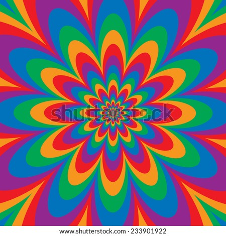 Infinite Flower op art design in primary and secondary colors. Colors are grouped for easy editing. - stock vector
