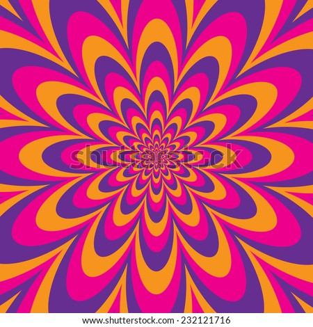 Infinite Flower optical illusion design in purple, pink and yellow. - stock vector