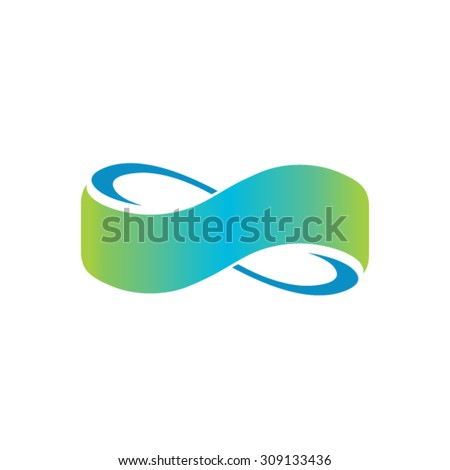 Infinity sign from the colored stripes of tape - stock vector