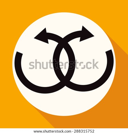 infinity sign on white circle with a long shadow - stock vector