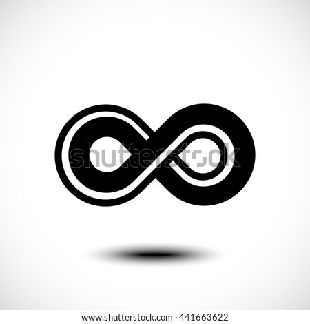 Infinity sign vector icon. Limitless abstract vector logo template. Endless sign, eight shape or eternity icon with soft shadows. Premium emblem for any brand.  - stock vector