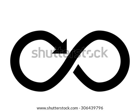 Infinity sign with arrow - stock vector