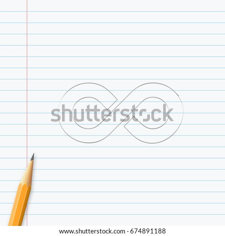 Infinity Symbol Hand Drawn Pencil On Stock Vector 674891188