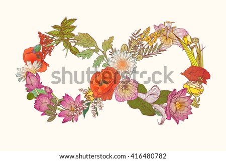 infinity symbol of flowers - stock vector