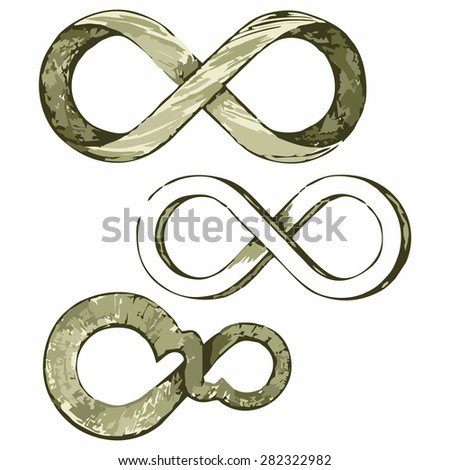 Infinity symbol. Shades of green and yellow. Doodle style - stock vector