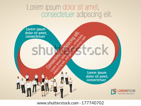 Infinity symbol with business people on work process  - stock vector