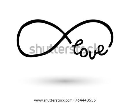 Infinity Symbol Word Love Icon Hand Stock Vector 2018 764443555
