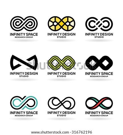 Infinity symbols (6) - stock vector