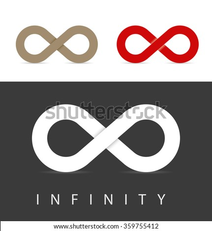 infinity symbols set in three colors - stock vector