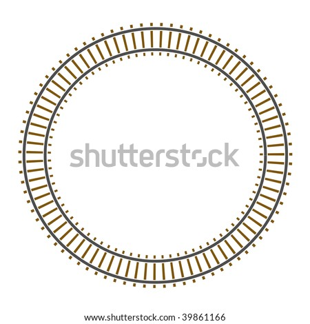 Infinity vector circle train railway track - stock vector