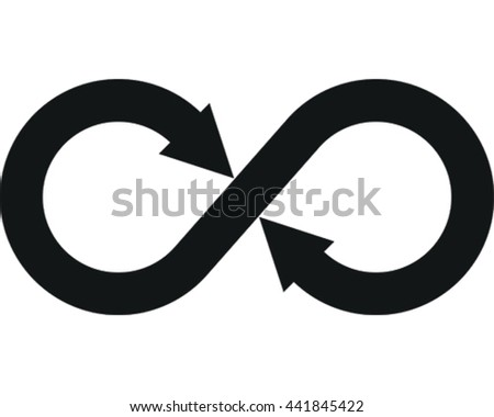 Infinity Vector Illustration. Black Arrow Eternity Symbol Icon.