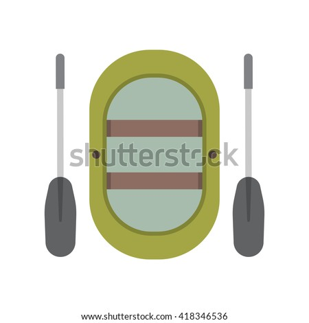 Inflatable boat vector illustration. Rafting boat icon isolated on white background. Rafting vessel boat pictogram in flat design. - stock vector