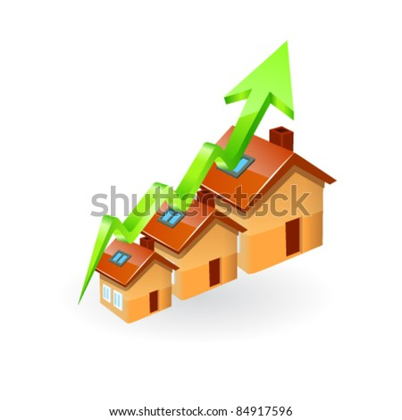Inflating House Graph - stock vector