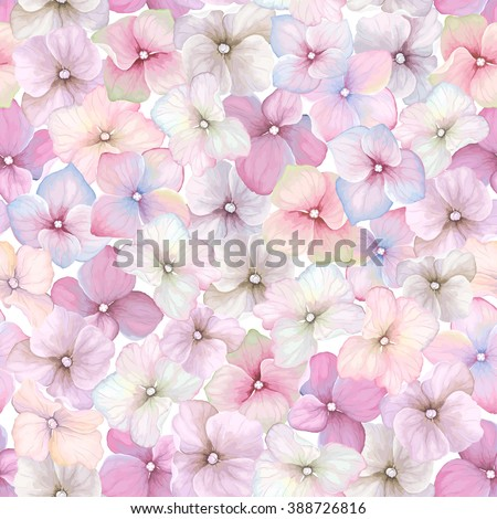 Inflorescence Hydrangea randomly arranged in seamless pattern, vector illustration in vintage watercolor style. - stock vector