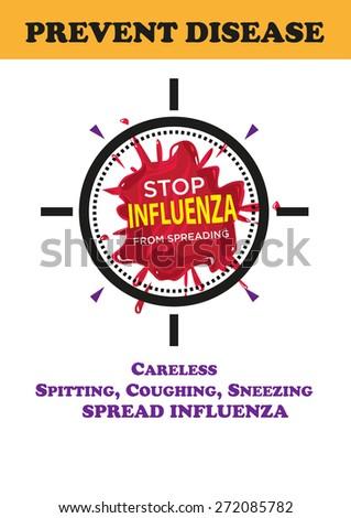 Influenza Prevention Poster Awareness Campaign design. Editable Vector EPS10. - stock vector