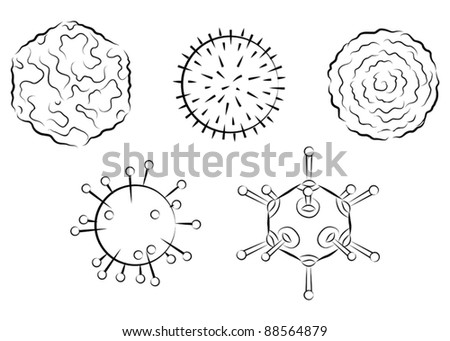 Influenza viruses. Black and white vector illustration - stock vector