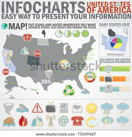 Info chart creative pack. Easy assembling elements for presentation and graph. Including United States of America map, weather, emergency and communication icons. - stock vector