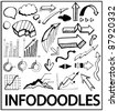 Info doodles. Vector hand drawn design elements: arrows, charts, bars, trends, bubbles - stock photo