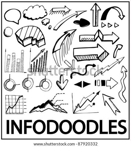 Info doodles. Vector hand drawn design elements: arrows, charts, bars, trends, bubbles - stock vector