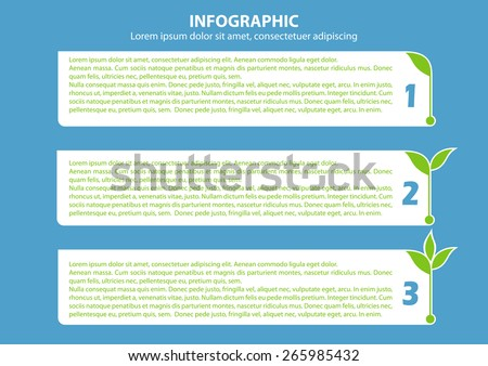 Info grapfic with 3 growing  sprouts for, banner, diagram, number options, web design, documents etc. - stock vector